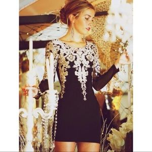 Gold Embroidered Long Sleeve Black Mini Dress
